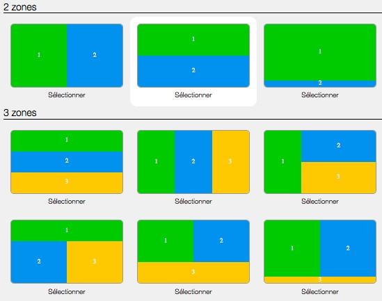 découpages écrans en zones